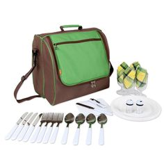 Yodo Picnic Bag - 4 Person Cutlery Set and Large Cooler Compartment - Perfect for concerts, beach, parks, hikes * Unbelievable outdoor item right here! : Camping stuff Picnic Backpack, Picnic Bag, Large Cooler, Camping And Hiking, Camping Stuff, Cutlery Set, Green And Brown, Suitcase, Beach