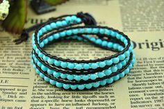 Leather Wrap Bead Bracelet Blue Bead Bracelet by BeautifulShow, $20.99