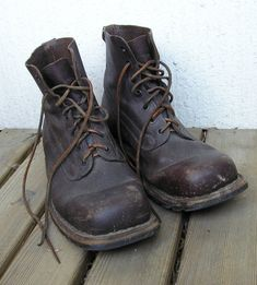Ww2 Swedish Army Work Combat boots Full leather Brown