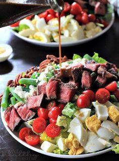 One of my favorite Summer Salads! Ribeye Steak Salad with Balsamic Vinaigrette | www.joyfulhealthyeats.com | #saladrecipes #30minutemeal #manfood