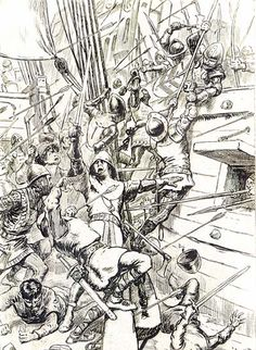 Another depiction of the Battle of Sluys, 24 June 1340, here is the boarding of the English. After weakening the French with the English longbow, Edward III's men boarded the ships for hand-to-hand combat. The result was an absolute slaughter of the French Navy.