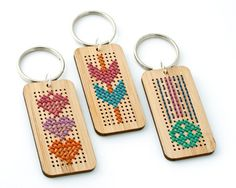 Cross Stitch Kit - Stitched bamboo key ring with heart pattern. $16.00, via Etsy.