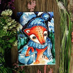 Greeting Animal Card Set Fox Postcard Painting от DiscoverTheSpace