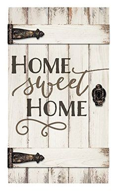 Home Sweet Home White Distressed 18 x 32 Inch Solid Pine Wood Barn Door Wall Plaque Sign Old Barn Doors, Wooden Doors, Wooden Art, Oak Doors, Front Doors, Distressed Wood Wall, White Home Decor, Wood Wall Decor, Interior Barn Doors