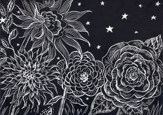 "Starry Night Black and White Art, Scratchboard Art, Original Drawing, Engraving, Flower Illustration, Black Wall Decor, ""Night Garden"""