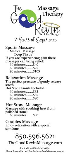 Rack Cards for The Good Kevin Massage Therapist. Side 1