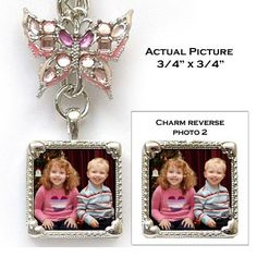 """Keychain with photo and novelty charms. Single square photo charm is reversible.   Includes 2 photos!   All photos approximately  3/4"""" x 3/4"""""""