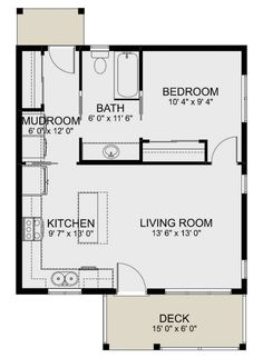 1 Bedroom House Plans, Guest House Plans, Shed House Plans, Small House Layout, Small House Design, Small Apartment Layout, Small Guest Houses, Tyni House, Tiny House Cabin