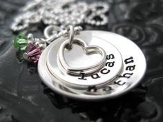 Personalized Jewelry Hand Stamped Mommy Necklace by BragAboutIt---just like it because it has my baby boys name on it :)