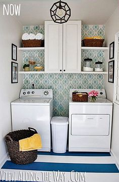 DIY laundry room update with stenciled walls and DIY painted vinyl floors via Vi. DIY laundry room update with stenciled walls and DIY painted vinyl floors via View Along the Way Small Laundry Rooms, Laundry Room Organization, Laundry Room Design, Laundry In Bathroom, Laundry Nook, Decorate Laundry Rooms, Bathroom Storage, Household Organization, Laundry Storage