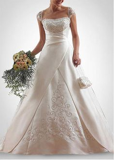LACE BRIDESMAID PARTY BALL EVENING GOWN IVORY WHITE FORMAL PROM BEAUTIFUL EXQUISITE SATIN A-LINE WEDDING DRESS