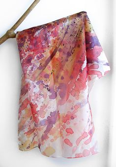 salmon Hand Painted Silk Scarf - salmon and plum abstract shawl