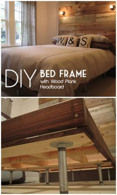 45 Easy DIY Bed Frame Projects You Can Build on a Budget - Check out the tutorial on how to make a bed frame with a giant wood plank headboard. Looks easy enough! How To Make Headboard, Bed Frame And Headboard, Bed Frames, Diy Queen Bed Frame, Making A Bed Frame, Bedroom Frames, Diy King Headboard, Bookcase Headboard, Headboard Ideas