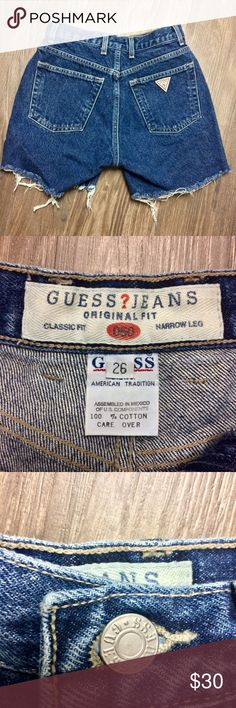 Guess Vintage High Waisted Denim Shorts size 26 Vintage Guess frayed shorts. Classic fit. Worn twice only.  Materials: 100% cotton Guess Shorts Jean Shorts