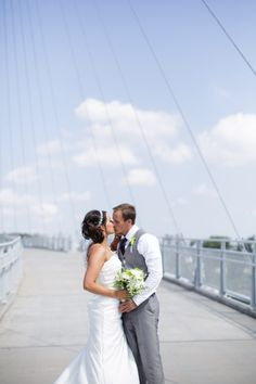 Wedding photos on the Bob Kerrey Pedestrian Bridge.