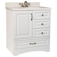 Glacier Bay Danville 30 in. W x 21 in. D x 33.5 in. H Vanity Cabinet Only in White-BDWH30D at The Home Depot