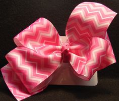 Pink/white chevron hair bow by VINYLandBOWS on Etsy