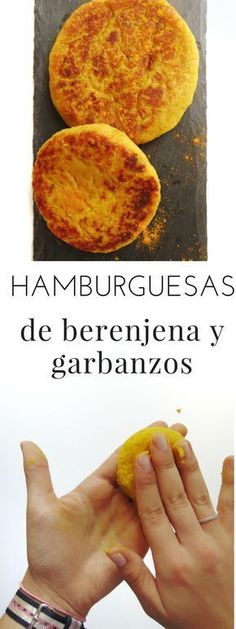 Hamburguesas de berenjena y garbanzos Eggplant and chickpea burgers Veggie Recipes, Gourmet Recipes, Real Food Recipes, Cooking Recipes, Vegan Vegetarian, Vegetarian Recipes, Healthy Recipes, Vegan Burgers, Vegan Life