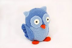 Hootie the owl dollblue owl crocheted dollkids by BadHatCat