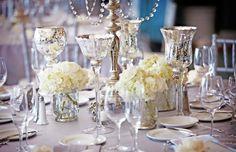 déco table Noël argent et blanc en verre mercurisé et hortensia