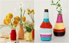 Lọ hoa sắc màu từ chai thủy tinh cũ