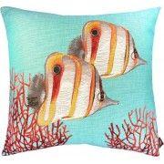 Vissen groot met koraal ondergrond aqua Kussen vierkant
