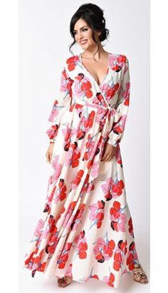 d0df101d7f 1970s Style Ivory   Red Floral Print Long Sleeve Maxi Dress Junior Maxi  Dresses