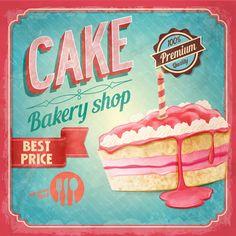 Cake bakery shop retro poster vector 06