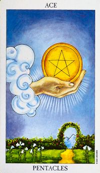 Ace of Pentacles Tarot Card Meanings Keywords    Upright: Manifestation, new financial opportunity, prosperity    Reversed: Lost opportunity, lack of planning and foresight