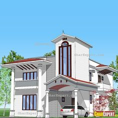 front elevation designs for duplex houses in india Plumbing Drawing, Front Elevation Designs, Building Elevation, Independent House, Duplex House, Front Design, 3 D, House Plans, Room Decor
