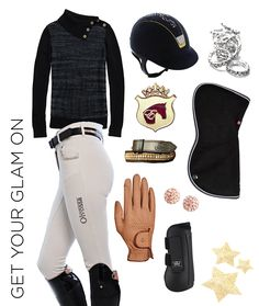 Here's a #ROOTD filled with items to make horse & rider feel glamorous. Get the look: Tommy Hilfiger Lurex Split Neck Sweater, Samshield Custom Helmet – Premium Alcantara Blue, Spiced Equestrian Original Braid Bling, Ogilvy Equestrian Half Pad, Equestrianista Apparel Stock Pin, Olvossa Gold Crystal Belt, Roeckl Chester Gloves in Camel, Woof Wear Pro Tendon Boots, My Barn Child Bling Earrings in Champagne, Olvossa Silicone Crystal High waist Breeches