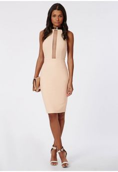Missguided - Cynthia Crepe Neck Trim Midi Dress Nude