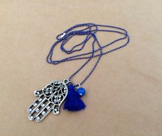 Fatima Hand Charm Necklace Hand of Fatima Necklace by IzouBijoux