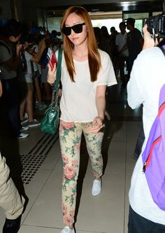 Airport fashion - floral jeans