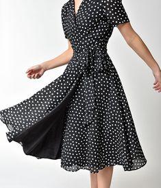 cf25c8c58a The Pretty Dress Company 1940s Black   Ivory Polka Dot Wrap Dress