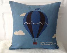 1 handmade linen cotton blue Hot air balloon Home is where the breeze takes us printed  pillow case / cushion cover 45cm x45cm