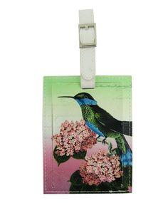 $4.99 Hummingbird, flower & bird print vegan leather luggage tag - LAVISHY Boutique