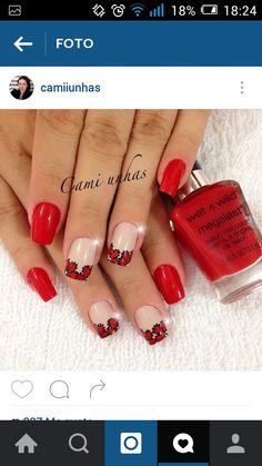 Uñas Red Nails, Hair And Nails, Finger Nails, Pedicures, Nail Arts, Erika, Divas, Manicure, Nail Designs