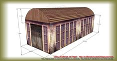 Old Industrial Garage Paper Model for free download.  Its classic lines and traditional materials fit into the industrial environment of the late nineteenth century or early twentieth century and are the ideal complement to other paper models that we have already presented (model 1486) to create scale sets of industrial, abandoned or outdated districts, in war game or electric trains dioramas.