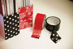 Decorate plain white magazine holders with decorative packing tape or scrapbook paper. (I used wrapping paper bc it's cheaper, and I wrapped it around the sides, too)      #Craft Room Organization Ideas