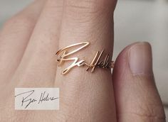20% OFF Actual Handwriting Ring - Personalized Signature Ring - Mom Memorial Jewelry - PR03