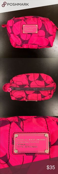 "Marc Jacobs Pink Cosmetic Bag Marc Jacobs Pink quilted cosmetic bag, zipper closure, signature MARC by Marc Jacobs Supply plate on the exterior, Signature black and white logo- print lining, Approx 5"" Hx 8"" L x 5""D. Great condition Marc by Marc Jacobs Bags Cosmetic Bags & Cases"