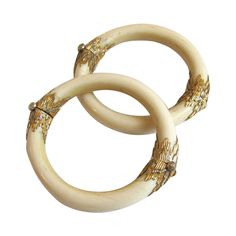 1930s Mario Buccellati Unique Ivory Gold Bracelets | From a unique collection of vintage bangles at https://www.1stdibs.com/jewelry/bracelets/bangles/