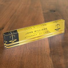 Attorney At Law Gold Black Legal Scale Judicial Nameplate - professional gifts custom personal diy