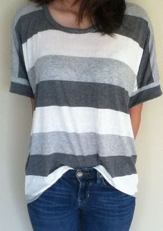 Sew a boxy tee--make the neckline larger so it hangs off the shoulder