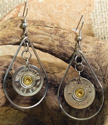20 gauge silver earrings | silver shotgun shell earrings | ammo jewelry | bullet jewelry | Spent Rounds Designs