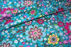 J.Swafing Albella Baumwoll Popeline Stoff Blumen Blüten Zweige türkis farbenmix