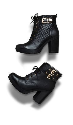 winter heels - black - boots - Inverno 2015 - Ref. Heeled Boots, Shoe Boots, Ankle Boots, Shoes Sandals, E Biker, Winter Heels, Cute Heels, Dream Shoes, Pretty Shoes