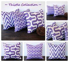 Purple pillow cover cushion cover Thistle grape purple pillow sham home decor accent