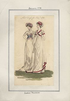 Ladies' Museum, Full Dress, January 1799.  I absolutely freaking adore the red and white dress. It is absolute perfection. And the one on the left is WEIRD.  I also like this one because it illustrates human error in the cataloging process. Check out the date that is written at the top. Whoops!